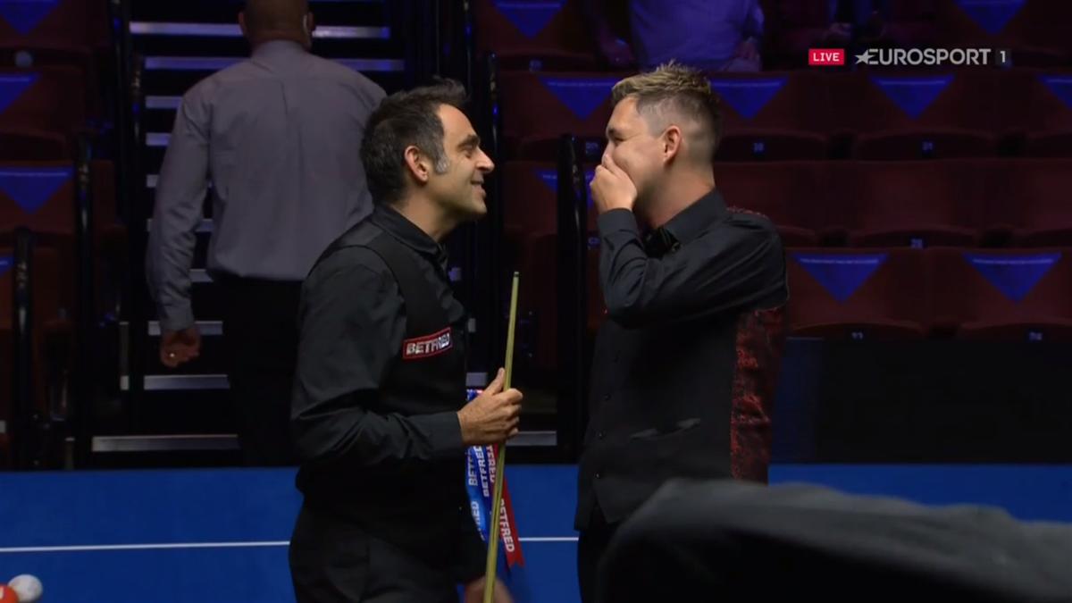 Ronnie O'Sullivan celebrates beating Kyren Wilson in the 2020 World Snooker Championship final
