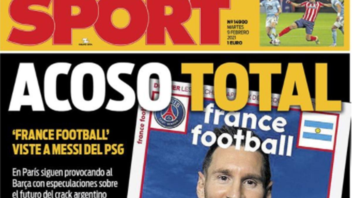 """Une du journal espagnol """"Sport"""" sur le cas Messi, le 9 février 2021 (capture d'écran)"""