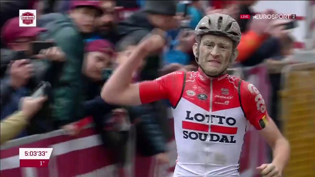 Tiesj Benoot wins the Strade Bianche
