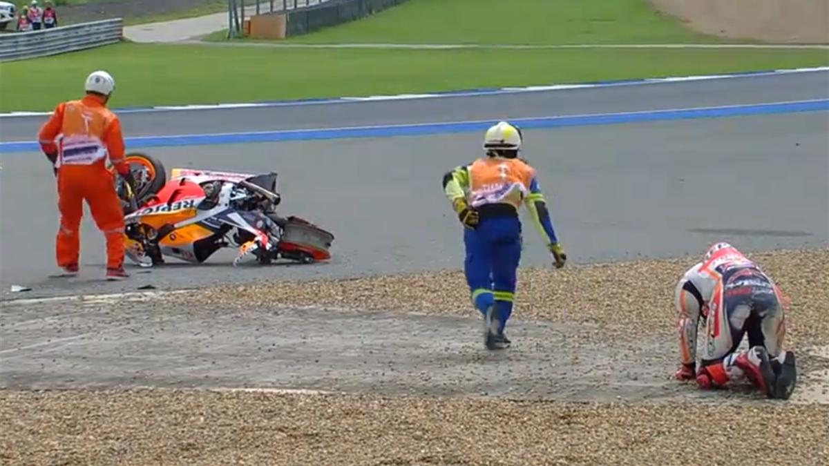 Le crash de Marc Marquez (Honda HRC) au Grand Prix de Thaïlande 2019