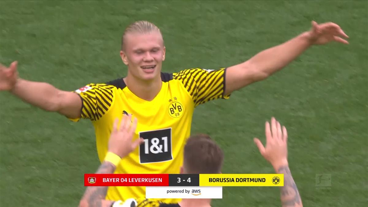 Así fue la exhibición de Haaland en el partido loco ante el Leverkusen