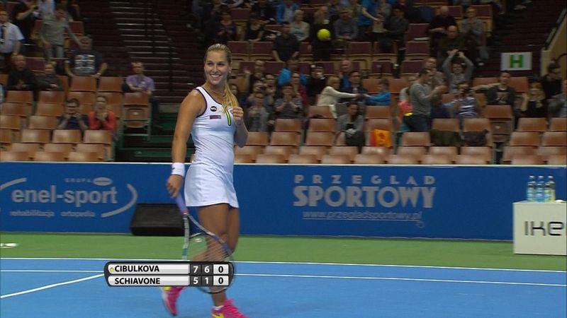 WTA Katowice: Dominika Cibulkova - Francesca Schiavone: 2-0 (Özet)