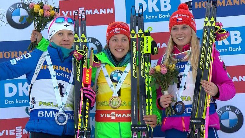 Dahlmeier takes biathlon double in Pokljuka