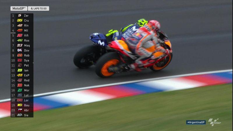 GP Argentinië: crash Marquez vs Rossi