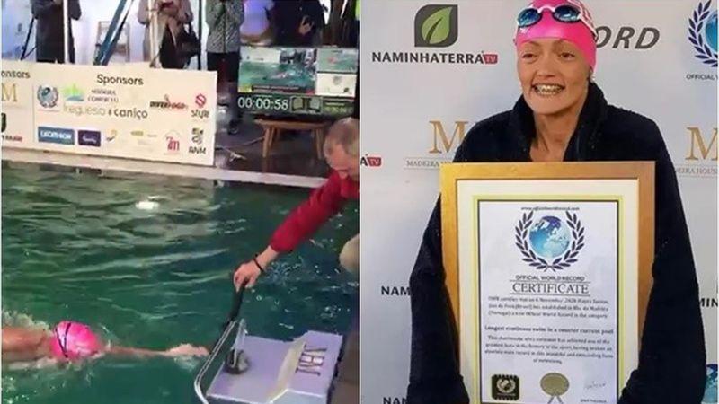 Mayra Santos, récord mundial en piscina estática tras nadar 31 horas
