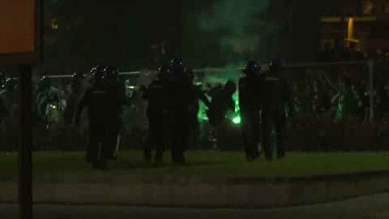 Sporting Lisbon fans clash with riot police amid title celebrations