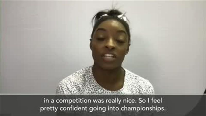 Biles on being first woman to land historic vault in competition