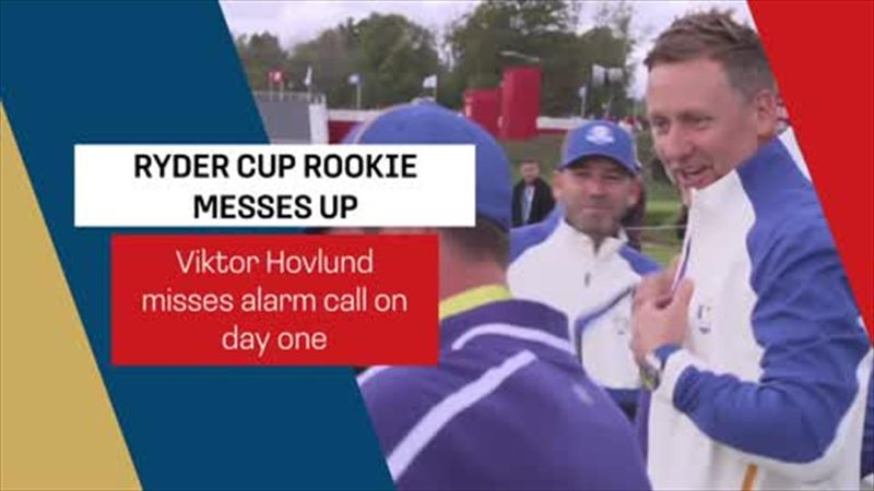 Hilarity at Ryder Cup photo-call as Hovland leaves it late