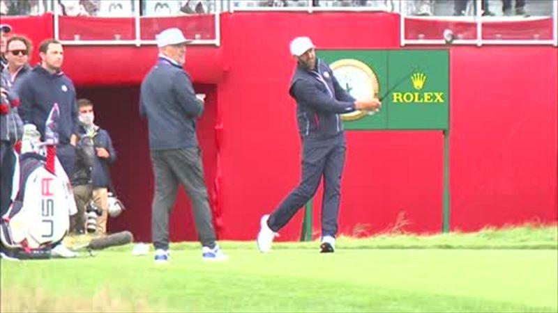 Erste Übungsabschläge der US-Golfer beim Ryder Cup
