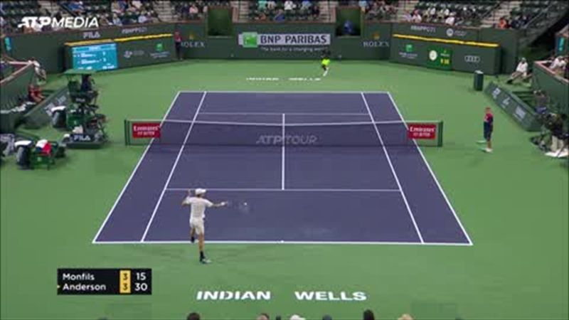 Monfils beat Anderson in straight sets to reach the last 16 at Indian Wells