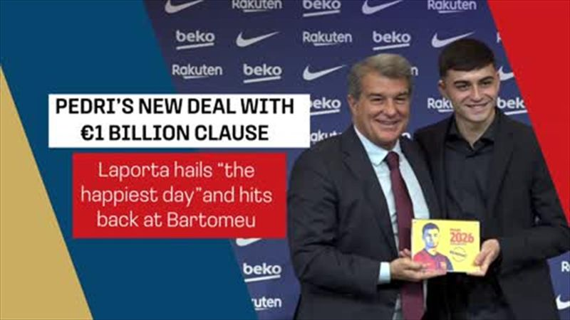 Barca president Laporta hails Pedri deal as 'happiest' day and hits back at Bartomeu