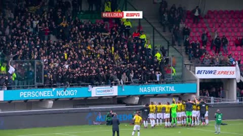 Stand collapses as Vitesse fans celebrate derby victory