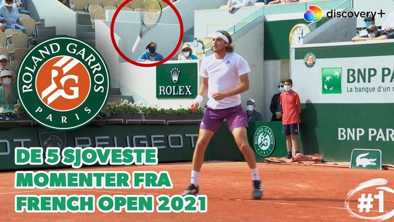 Smørfingre, slagsange og spøjse returneringer: Se de fem sjoveste øjeblikke fra Roland Garros 2021