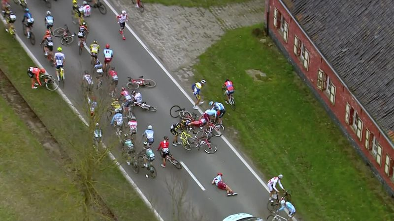 Multiple riders down in peloton chaos