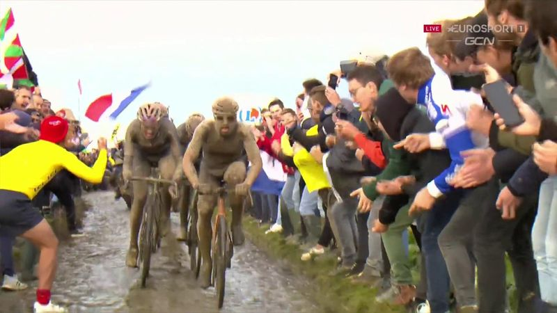 'Moscon is caught!' - Watch moment Colbrelli makes his move at Paris-Roubaix