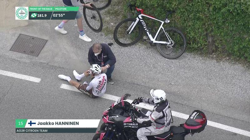 Brutta caduta per Hanninen, il finlandese è costretto a fermarsi