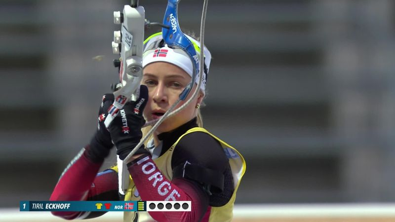 Tiril Eckhoff holds nerve to take another pursuit win