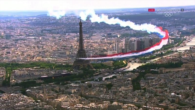 Watch incredible fly-by as Macron introduces Paris 2024 from Eiffel Tower