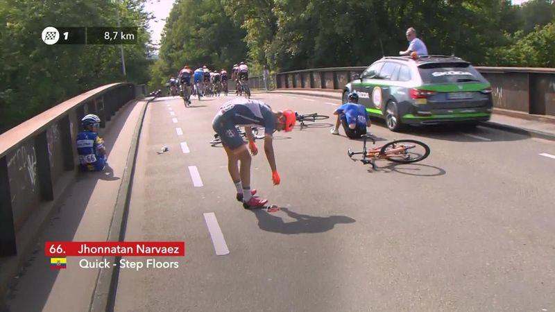 'A nasty little tumble' – Jhonatan Narvaez hits the deck at Deutschland Tour