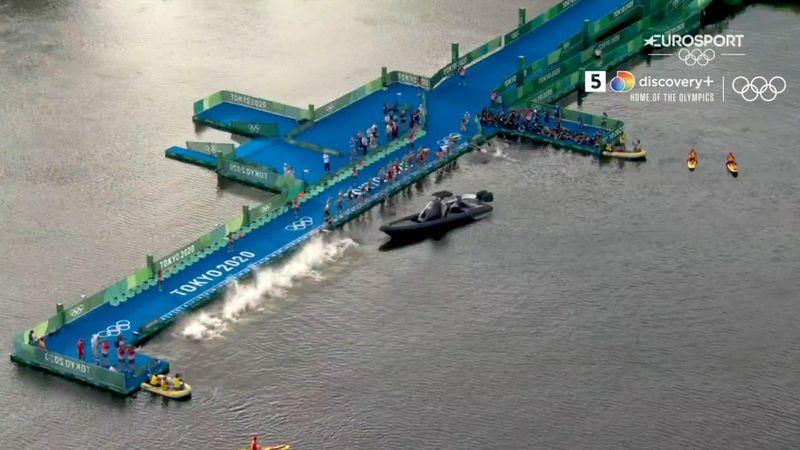 Besynderlig start på herrernes triatlon: Båd blokerer halvdelen af feltet