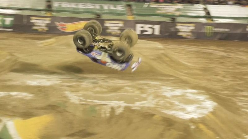 Monster truck pulls off front flip for first ever time