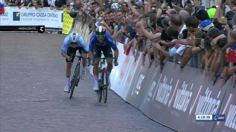 Men's road race highlights: Colbrelli picks Evenepoel's pocket