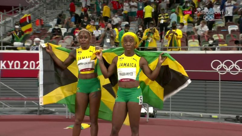 'Would you believe it?!' - Watch Thompson-Herah storm to 100m gold