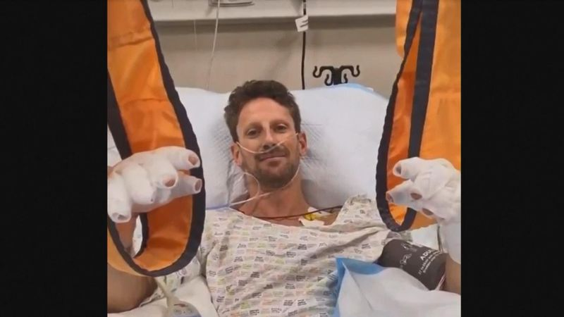 "Romain Grosjean says he's ""OK"" in hospital after horrifying crash in Bahrain"