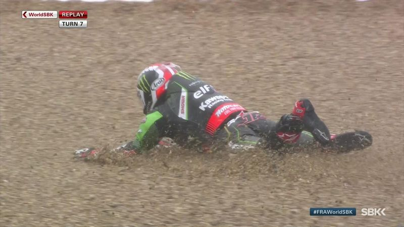 Jonathan Rea crashes in Free Practice 3 at Magny-Cours