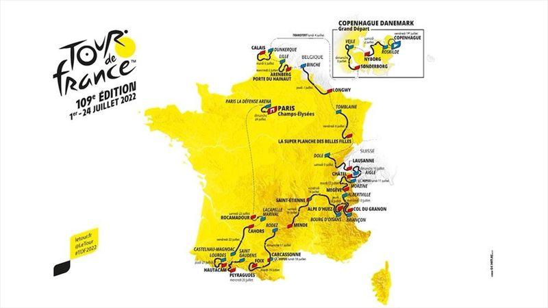 Danemark, pavés du Nord, Super Planche et Alpe d'Huez : Découvrez la carte du Tour 2022