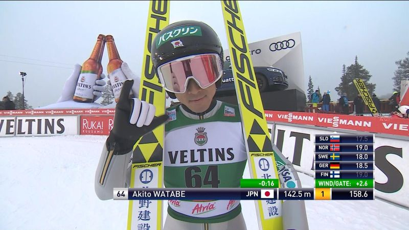 Akito Watabe leads the way after Ruka ski jump