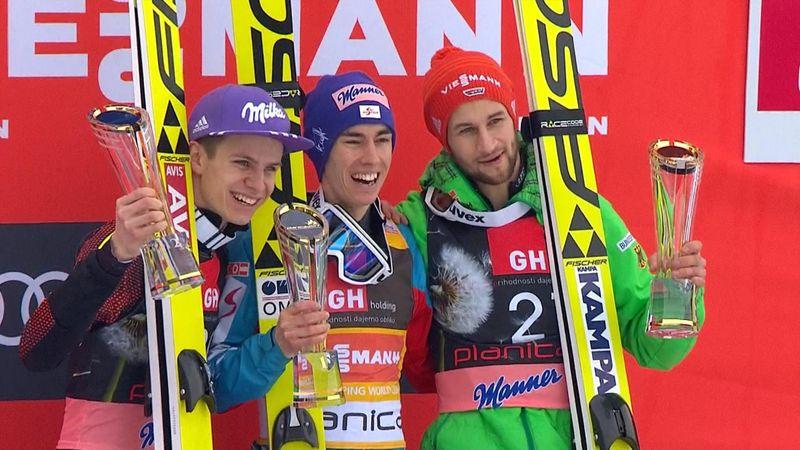 Spectacular Stefan Kraft puts one hand on Ski Jumping's Crystal Globe