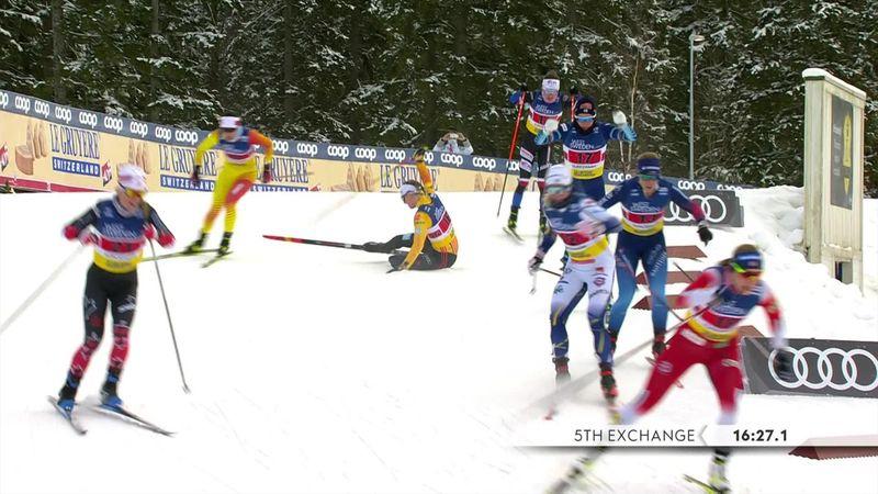 Carl perde uno sci e cade, miracolo di Sundling per stare in piedi