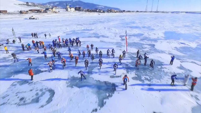 Skaters and cyclists brave the Russian 'Ice Storm'