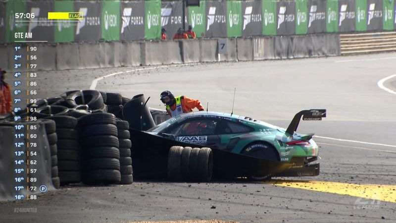 Дэмпси очень неудачно размолотил свой автомобиль в последний час Ле-Мана