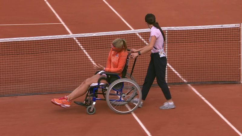 Exhausted Bertens has to leave court in a wheelchair after win
