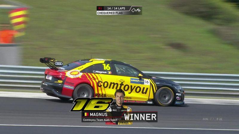 Watch final lap at Hungaroring as Magnus triumphs