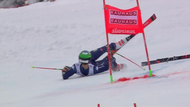 Eslalon gigante, Alta Badia: Aparatosa caída de Zingerle que terminó con los esquís volando