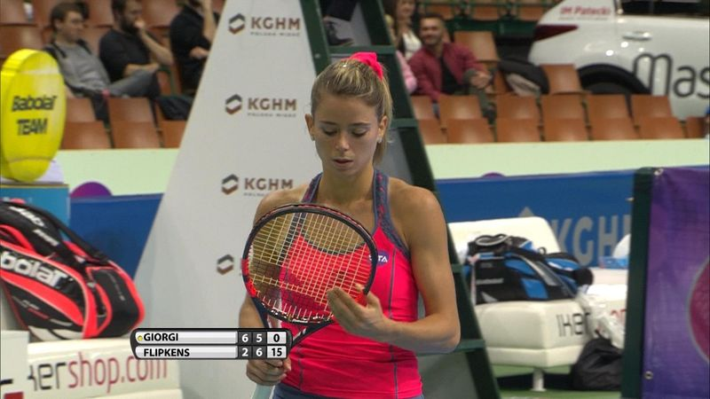 WTA Katowice: Camila Giorgi - Kirsten Flipkens: 2-1 (Özet)