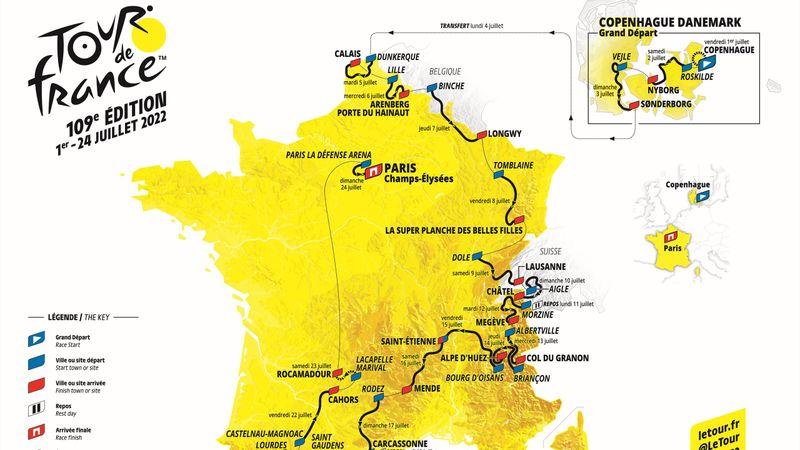 Il percorso 2022: da Copenhagen a Parigi, torna l'Alpe d'Huez