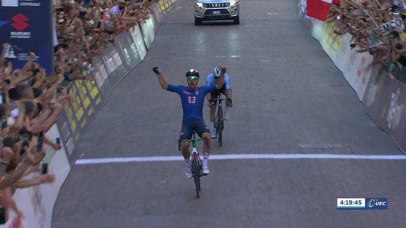 Colbrelli soars past 'disgusted' Evenepoel to win road race