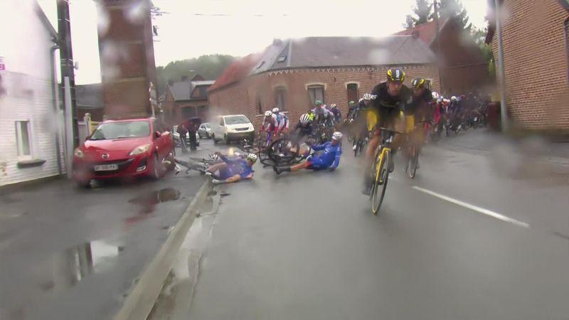 'Blimey!' - Early crash at wet men's Paris-Roubaix