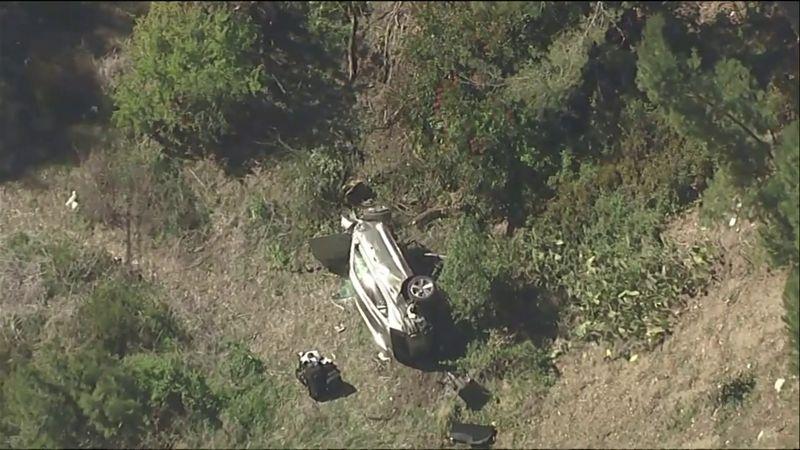 Aerial footage of Tiger Woods crash site released