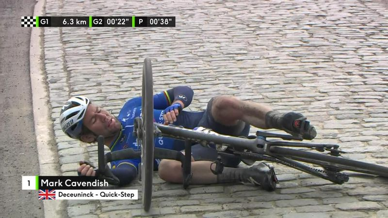 'That's over and out' - Mark Cavendish crashes during Nokere Koerse