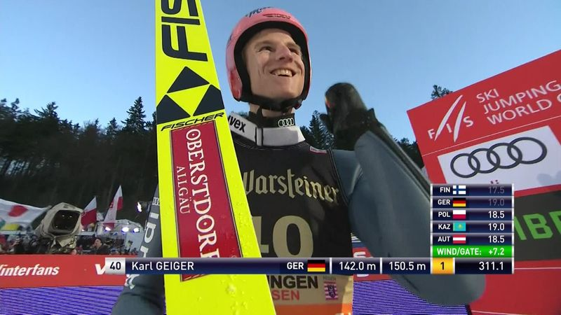 Karl Geiger logra su segunda victoria de la temporada en Willingen por delante de Stoch y Kobayashi