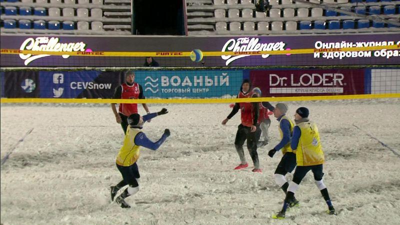 Россия настолько сурова, что даже волейболисты покинули песок ради игры на снегу