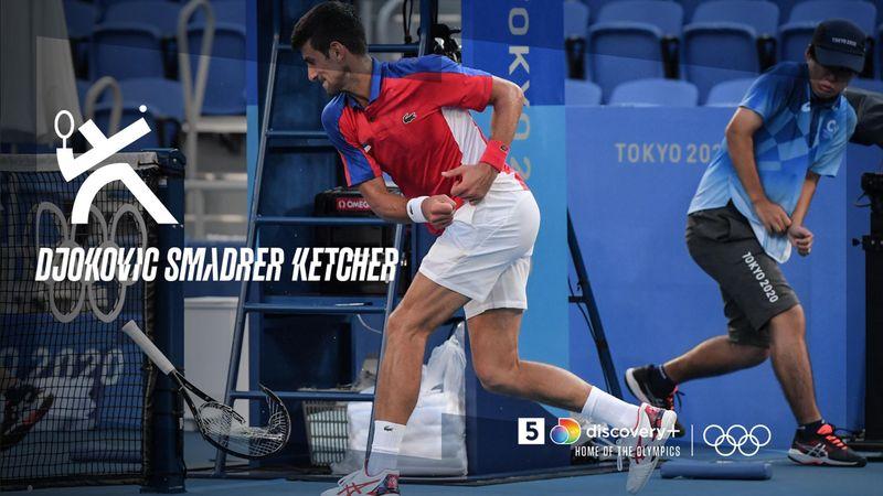 Frustreret Djokovic smadrer ketcher i bronzekamp