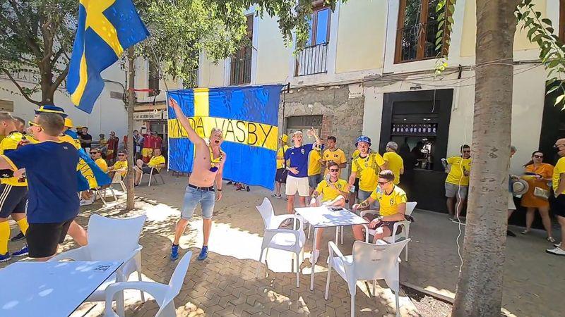 Eurocopa 2021: Parada técnica para reponer fuerzas de los aficionados suecos
