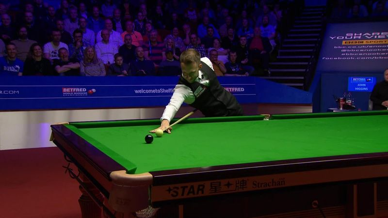 World Championships: Final - Judd Trump play with the last black of his century against Higgins