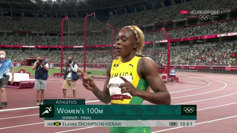 Second fastest time in history! Wild celebrations as Thompson-Herah storms to 100m glory